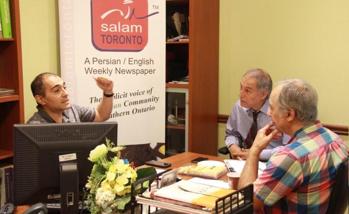 از راست: محسن تقوی، مشهود ناصری و پروفسور نادر هاشمی  جمعه 15 جولای 2016  دفتر سلام تورنتو