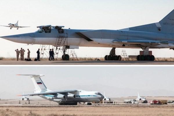 چندین هواپیمای جنگنده و بمب افکن روسی، که گفته می شود از پایگاه هوایی نوژه همدان برای حمله به اهدافی در سوریه استفاده کرده اند.