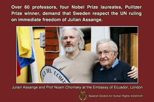 Over 60 professors, four Nobel Prize winners, demand Sweden to respect the UN ruling on Assange's freedom