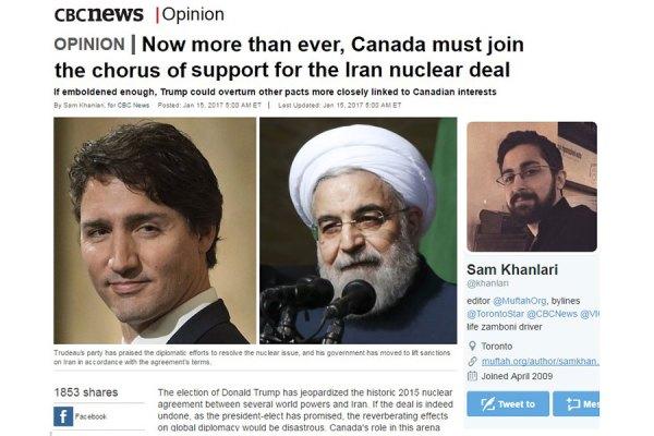 تصویری از صفحه خبر سی بی سی که یادداشت سام خانلری (سمت راست) را نشان می دهد. این خبر در عرض 2 روز بیش از 1800 بار به اشتراک گذاشته شد.