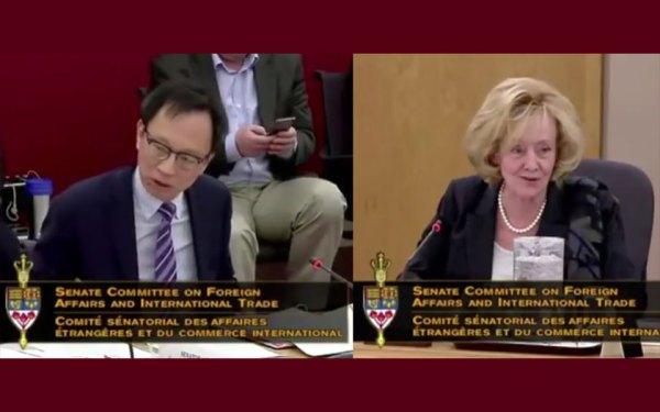 دو تصویر از ویدیو بحث روابط خارجه سنا درباره لایحه 219-S  در 29 مارچ/  سناتور رینل اندرچاک (محافظه کار) رئیس کمیته و سناتور یان پا وو عضو مستقل سنا