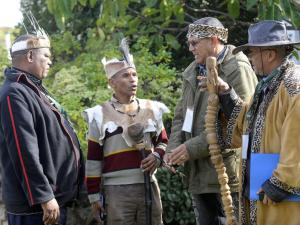 Khoi and San leaders Chief Jacob Lotriet, Chief Francisco MacKenzie, Chief Ernest Solomon and Chief Nikolaas de Wee at the provincial consultative workshop with Khoi and San descendants to discuss land claims. Picture: Cindy Waxa