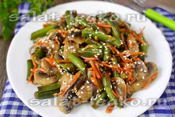 Салат с грибами и корейской морковью, рецепт с фото
