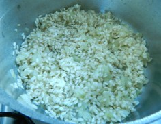 Doure a cebola e o arroz