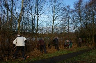 Working on the hedge near Tittesworth Water
