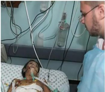 12-year old Ibrahim Zaza is fighting for his life after being struck by an Israeli rocket outside of his home