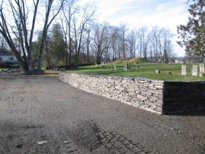 new wall at the Revolutionary War cemetery