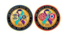 All members of the Salem Police and Fire Departments have been given challenge coins promoting suicide awareness. (Courtesy Photo Salem Police Department)