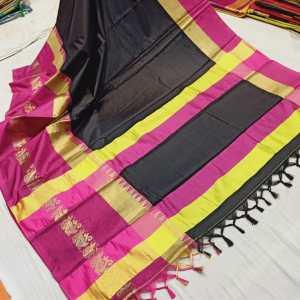 Duck Sico Silk Saree- Black