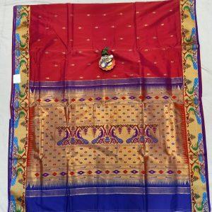 Semi Paithani Brocade Silk Saree