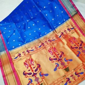 Art Silk Designer Pallu Paithani Saree – Light Blue