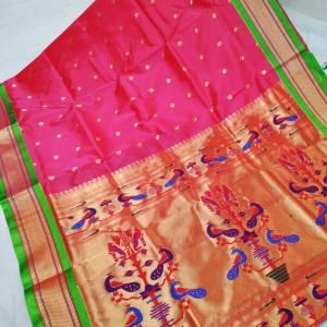 Art Silk Designer Pallu Paithani Saree – Apple Red