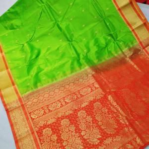 Semi Silk Kanjivaram Saree – Light Green