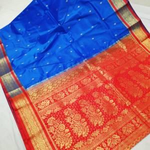 Semi Silk Kanjivaram Saree – Light Blue