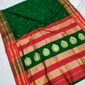 Pure Narayanpeth Silk Paithani Saree (Range-2) – Dark Green