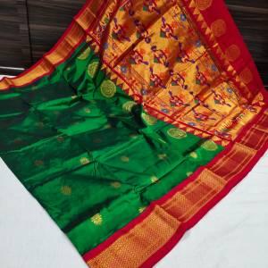 Pure Silk Kadiyal Paithani Saree (Range-3)