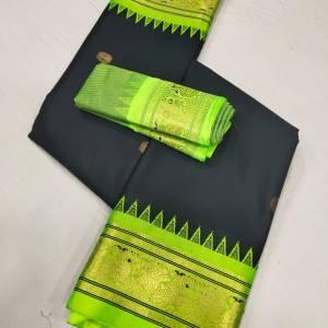 Meena Border Sico Paithani Saree (Black Color Range) – Light Green