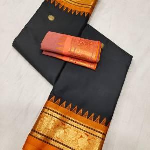 Meena Border Sico Paithani Saree (Black Color Range) – Orange