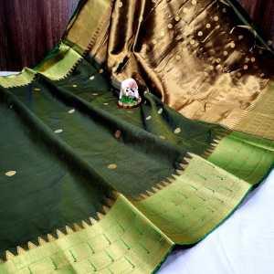 Triple Muniya Designer Sico Paithani Saree – Dark Green