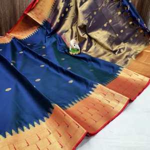 Triple Muniya Designer Sico Paithani Saree- Sea Blue