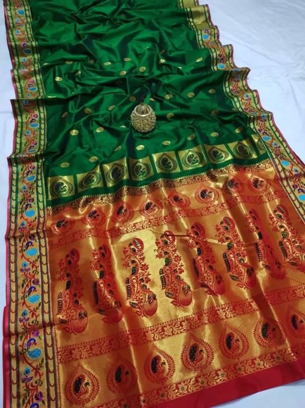 Full Work Rich Pallu Brocade Paithani Saree - Dark Green