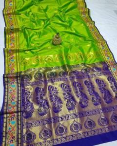 Full Work Rich Pallu Brocade Paithani Saree - Light Green