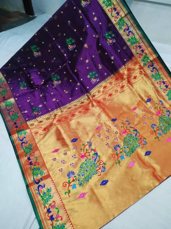 Designer Rich Pallu Brocade Paithani Saree - Voilet