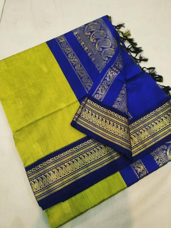 Gadwal Cotton Silk Paithani Saree - Pure Green