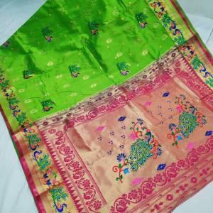 Designer Rich Pallu Brocade Paithani Saree – Light Green