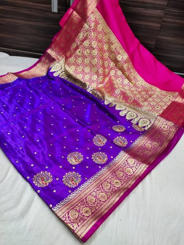 Banarasi Shalu Shine Silk Saree - Purple