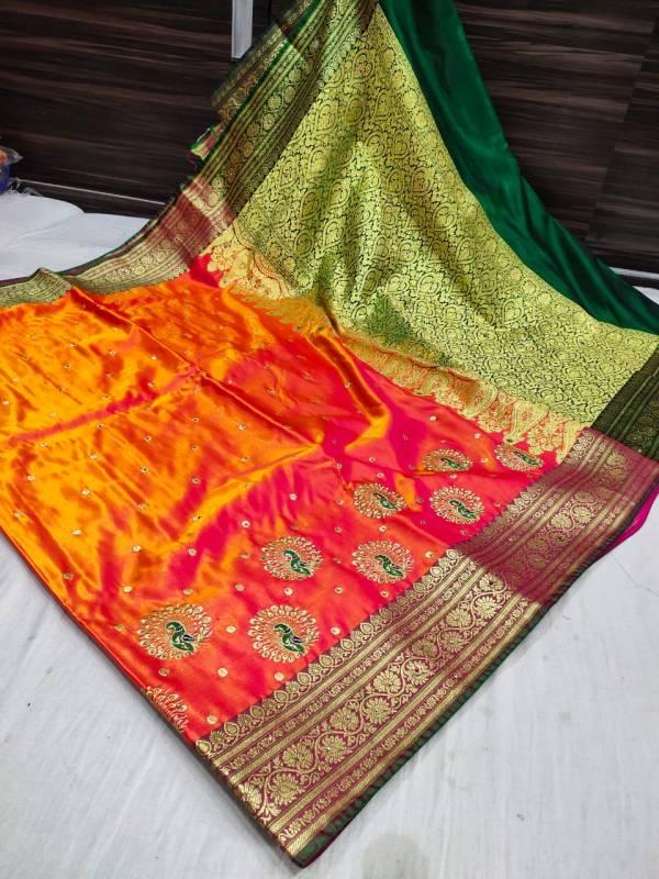 Banarasi Shalu Shine Silk Saree - Orange
