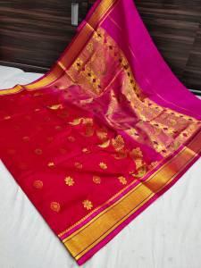 Designer Rich Pallu Semi Paithani Saree - Apple Red