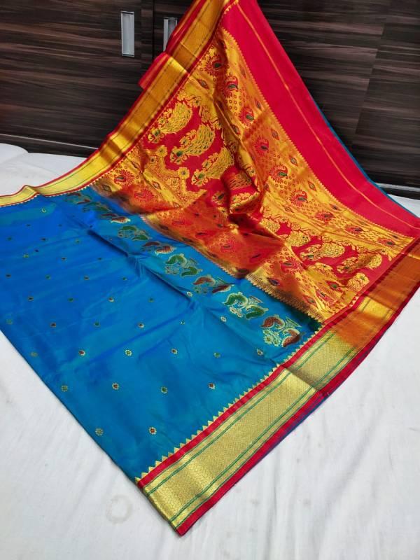 Designer Rich Pallu Semi Paithani Saree (Range 3) - Sea Blue