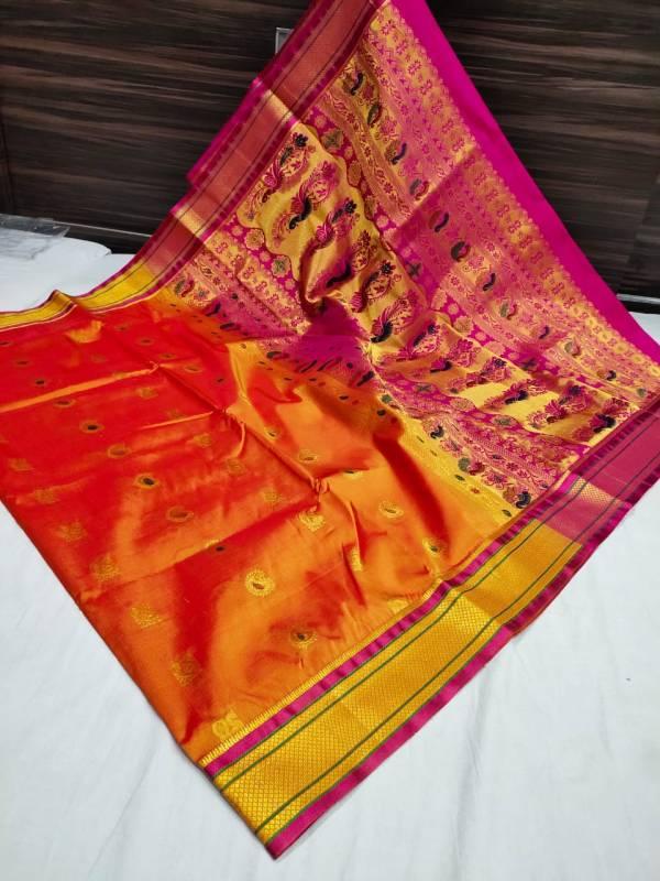 Designer Rich Pallu Semi Paithani Saree - Orange