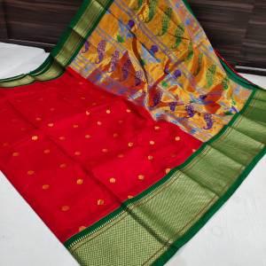 Big Border Semi Kadiyal Paithani Saree