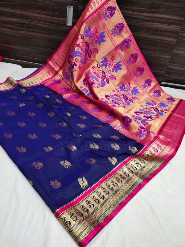 peacock semi paithani saree