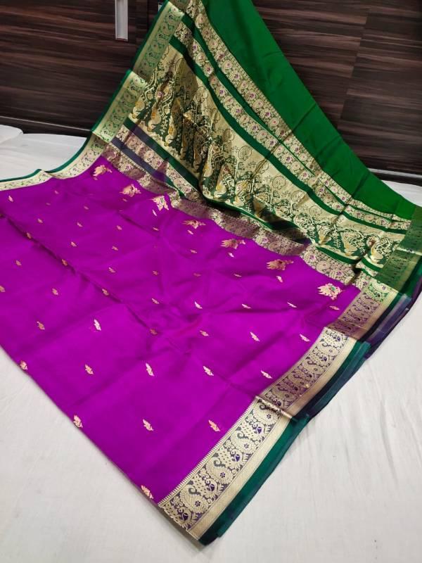 purple peshwai saree