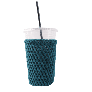 teal iced coffee cozy