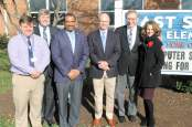 Left to right: Andrew Lewis Middle School Principal James Garst, Salem City Schools Superintendent Alan Seibert, Director of Administrative Services Forest Jones, School Board Chairman David Preston, School Board Vice-Chairman Dr. Mike Chiglinski and First Lady Pam Northam.