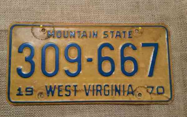 Vintage 1970 WEST VIRGINIA STATE LICENSE PLATE TAG, DECOR