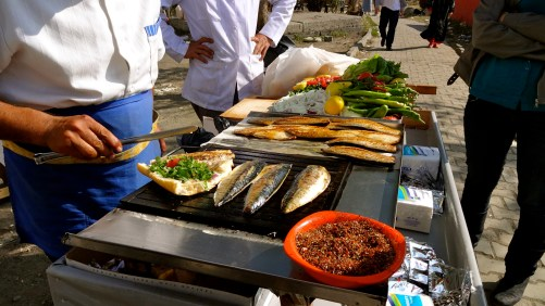 Street Sandos with Fresh Mackerel and Veggies! Delish!