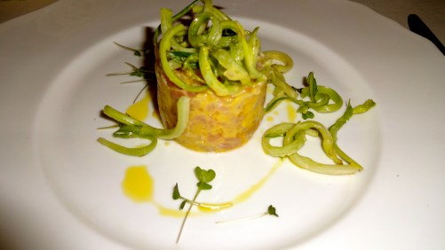Amberjack Tartare with Ginger and Puntarelle Salad.