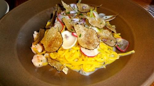 Tagliolini Pasta, Bay Shrimp, Radish, Truffle.