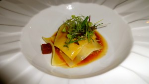 Foie Gras Lasagna with Port Reduction and Pears.