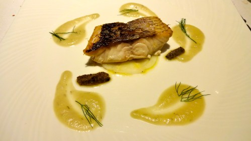 Roasted Dourade Fillet with Compressed Fennel, Dill, and Black Truffle.