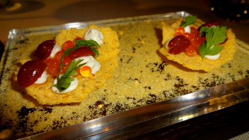Corn Crisps with Salmon Roe and Cherries.