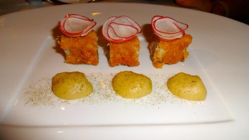 Breadstick Crusted Veal with Celery Root Purée and Radishes.