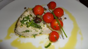 Amberjack with Tomatoes and Olives.