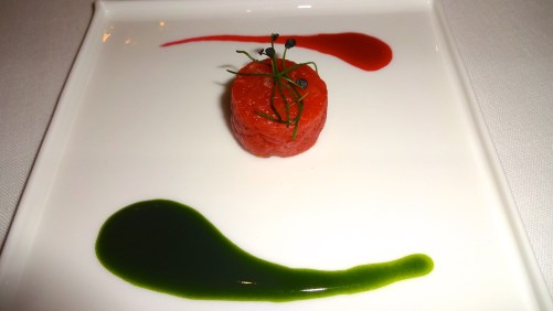 Amuse Bouche: Beef Tartare with Beetroot and Chlorophyll.