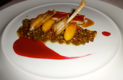 Baby Pork with Lentils and Caramelized Apples.